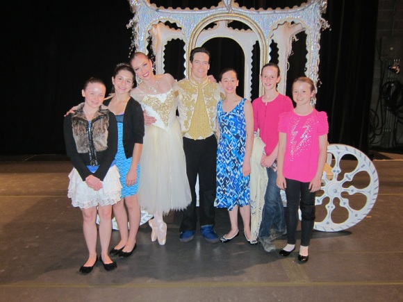 ABT's Sascha Radetsky and Ballet SJ's Alexsandra Meijer pose for a photo backstage with Mesa Burdick and friends.